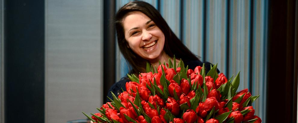 Огромный букет тюльпанов!
